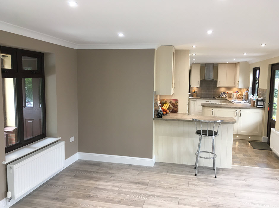 Integral single garage conversion to add living space to kitchen, Redgrave