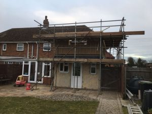 Start of house extension and building work, Norton Suffolk