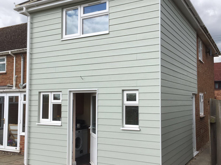 Hardiplank finish to house extension, Norton Suffolk