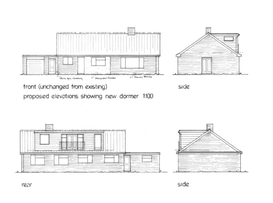 Plans for dormer window, Suffolk